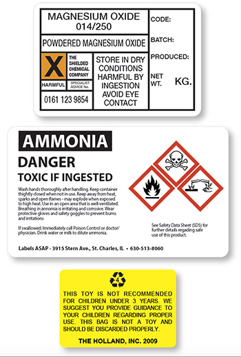 chemical and warning labels